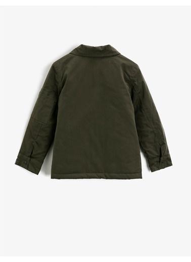 Koton Dügmeli Cepli Gömlek Yaka Kaban Yeşil